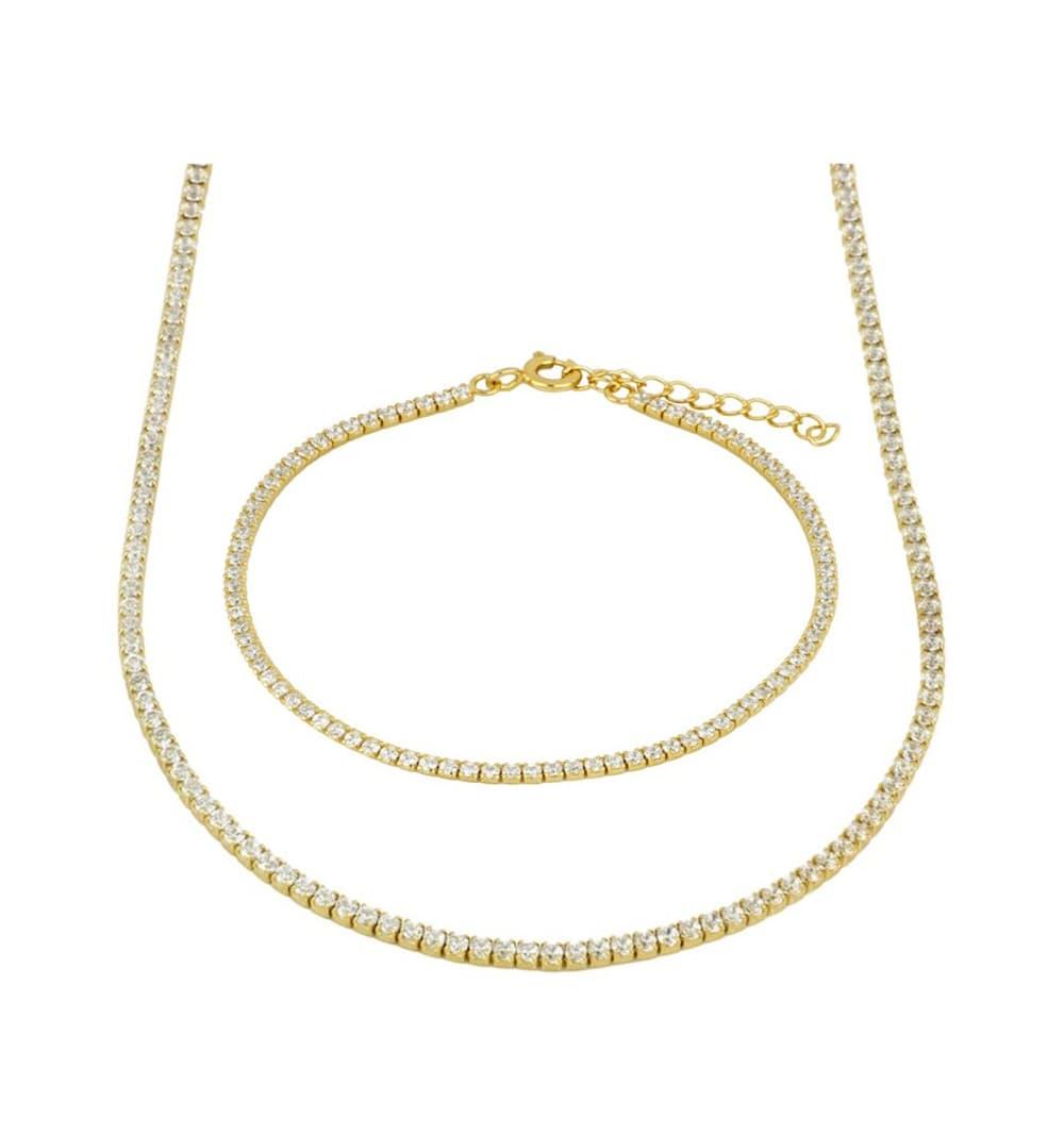 Necklace plus bracelet RAinbow princess gold