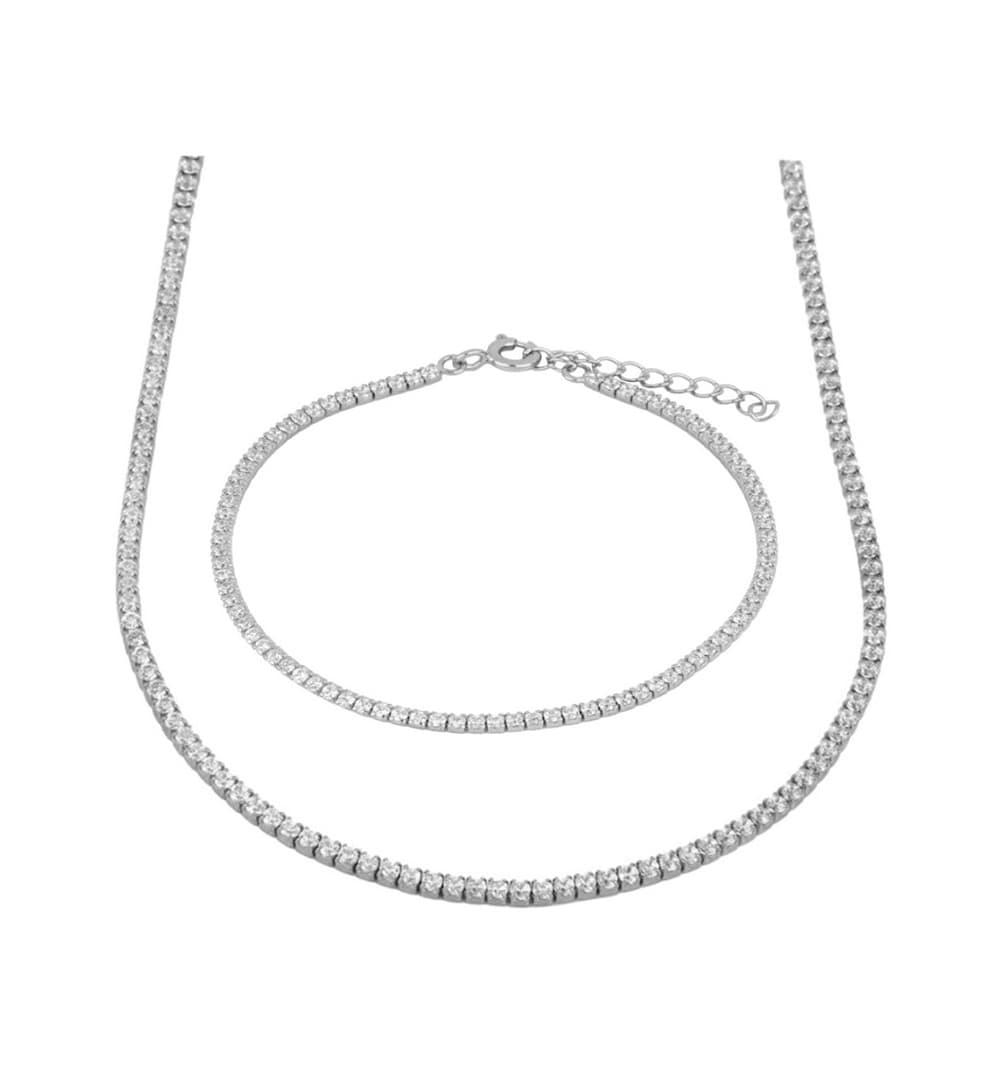 necklace plus bracelet silver