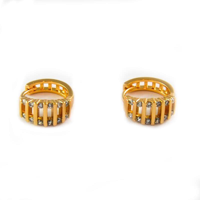 Golfi gold hoops with zircons. 1 cm diameter