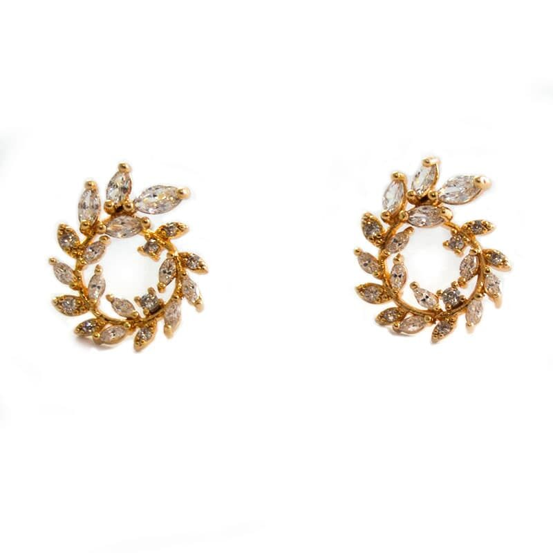 Golfi gold earring with zircons CROWN GOLD