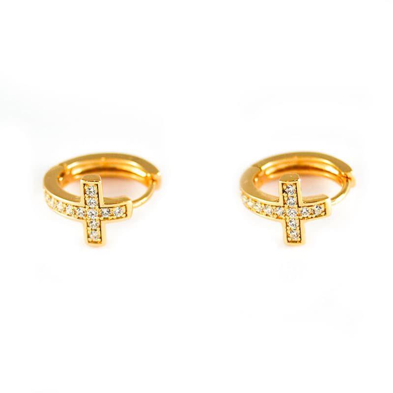 Cross rings, in golfi gold of 1cm in diameter. SAINT GOLD