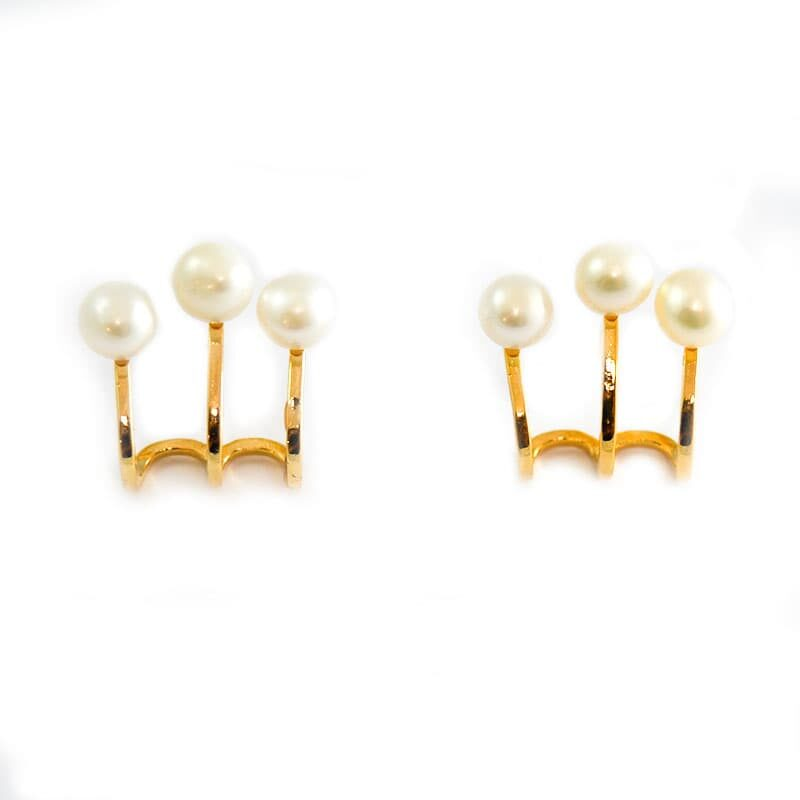 3 row earrings with natural pearl | SONIA GOLD | Madeincandela