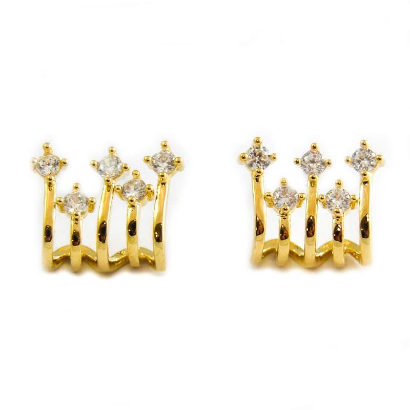 3 row earrings with zircons | ART DECO GOLD | Madeincandela