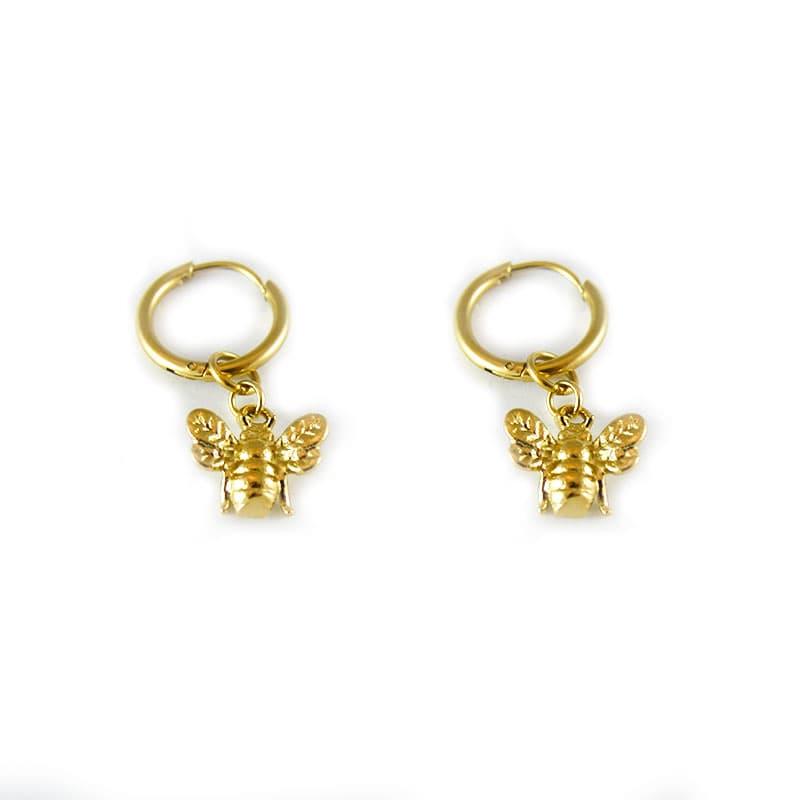 Hoops with bee pendant in hypoallergenic steel | HONEY GOLD | Madeincandela