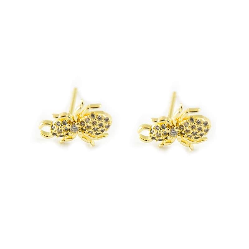 Steel earrings with zircons, gold plating | NATURE GOLD | Madeincandela